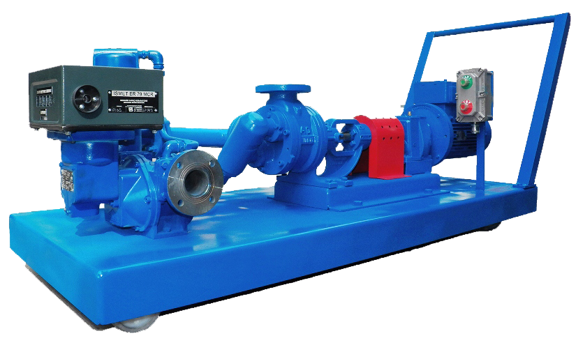 Batch fuel delivery skid mounted pump