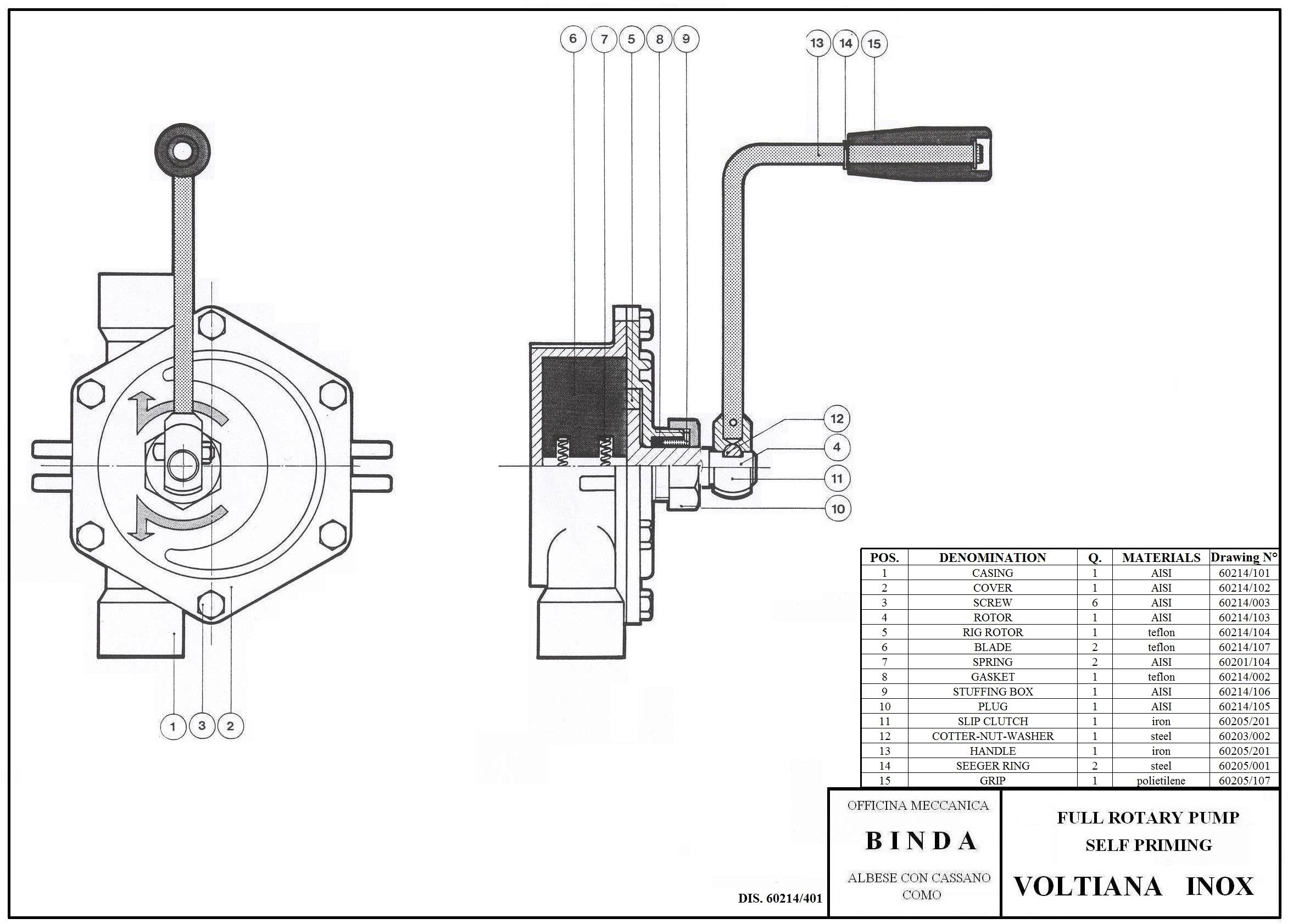 binda voltiana inox rotary hand pump  u0026 manual pump